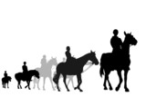 illustration of teens on horseback riding trip poster