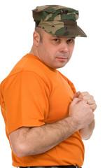 man in orange t-shirt