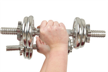 Two hands holding silver barbells
