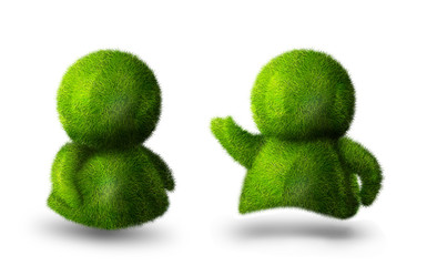 Couple of cute green persons talking