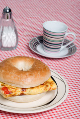 Bagel and Omelet sandwich