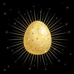 Glitter Ball in the shape of an Easter egg on a star burst.