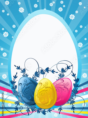 Easter greetings card with chocolate eggs and daisies