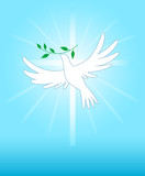 Peace dove on the cross background poster