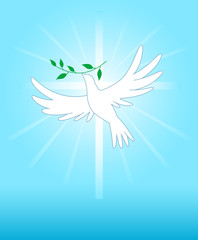 Peace dove on the cross background