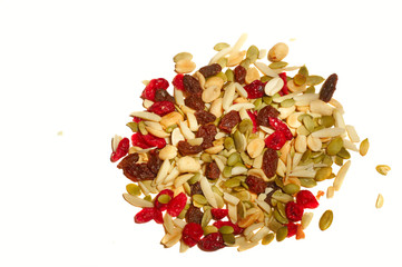 Portion of cranberry raisin trail mix on white