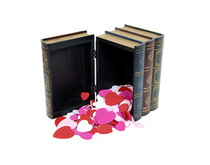 Hearts pouring from books