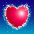 Vector illustration of Shiny star burst heart frame