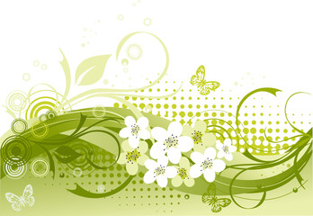 Vector illustration of green floral frame with butterflies