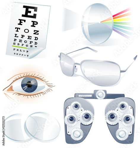 Ophthalmology vector icon set
