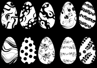 black design ornament for easter eggs