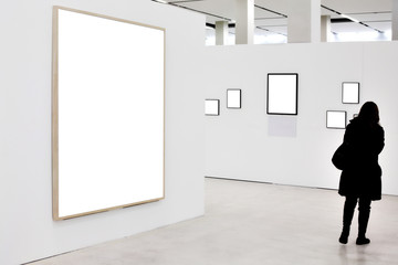 Walls in museum with empty frames and person