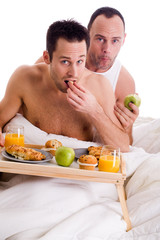 Home couple eating healthy