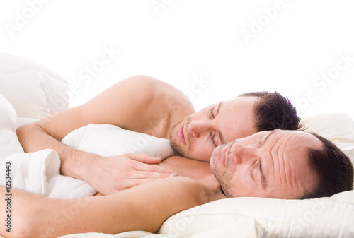 Sleeping gay couple
