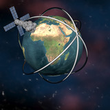 Satelite sputnik orbiting earth