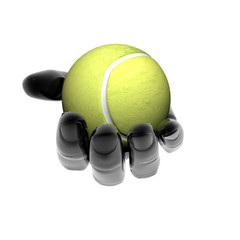 hand with tennis ball