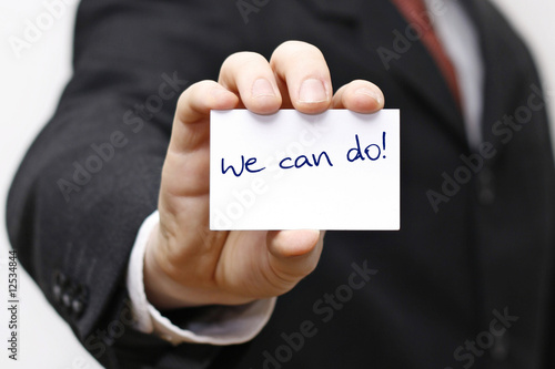 Karte Schild Postit mit We can do