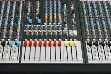 front view of sound board mixer