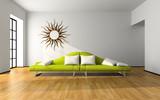 Modern interior with green sofa