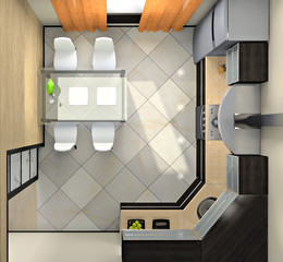 View from above on the modern kitchen