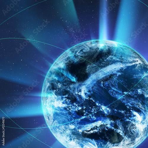 canvas print picture 光を放つ地球