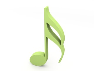 three dimensional green musical note