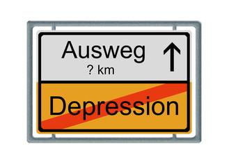 Verkehrsschild: Depression - Ausweg