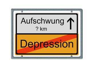 Verkehrsschild: Depression - Aufschwung