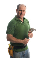 contractor repairman with tool belt and hammer