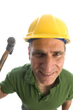 contractor repairman with tool belt and hammer poster