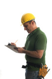 contractor repairman with tool belt and hammer writing estimate poster