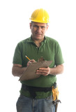contractor repairman with tool belt and hammer estimate poster