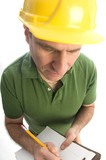 contractor repairman writing estimate with tool belt hammer poster