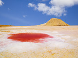 Mineral colored puddle at dry salty lake. Tunisia poster
