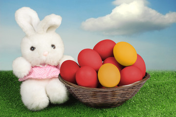 Toy bunny and Easter eggs