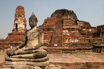 Sitting Buddha in ancient ruins of Ayuthaya, Thailand