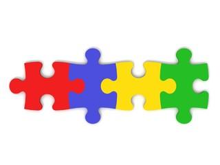 puzzle teile bunt in reihe