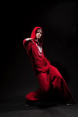 breakdancer in red suit