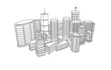 Rysunek czarno-biały 3d architektury miasta