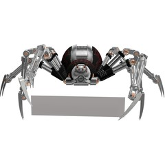 Robot Spider Android Virus Holding Blank Sign