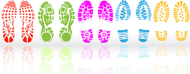 Vector illustration of various shoe print