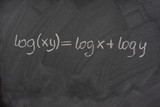 logarithm formula on a school blackboard poster