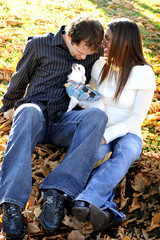 Smiling Attractive Interracial Couple Outdoors With Do