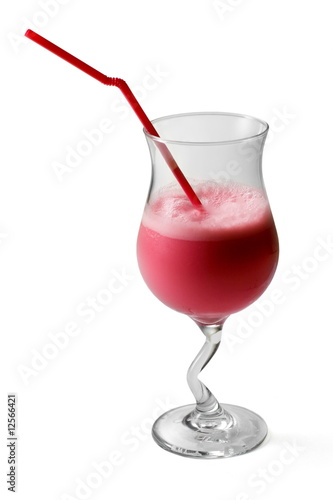 Raspberry cocktail decorated with tubule