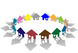 Colorful ring of brightly colored house symbols on white