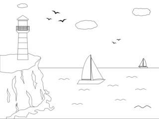 black and white lighthouse in front of the sea