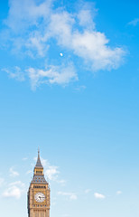 Big Ben, Westminster, London, blue sky, clouds and moon
