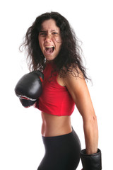 Woman with boxing glove isolated in white