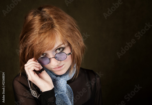 Pretty Girl with Blue Glasses