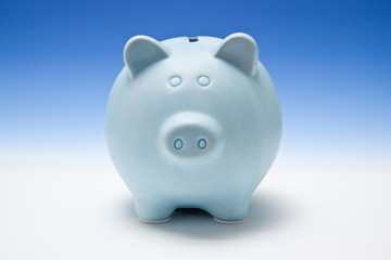 Blue piggy bank style money box.